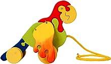 Clevere Kids Nachziehtier Papagei mit beweglichen Flügeln Holzspielzeug