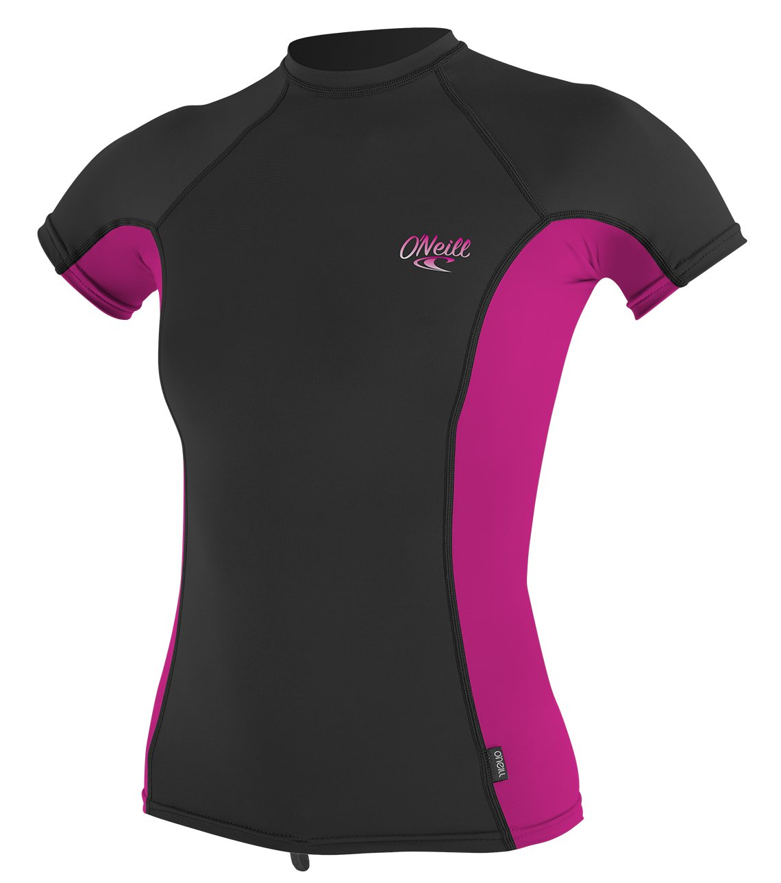 O'Neill Women's Premium Skins UPF 50+ Short Sleeve Rash Guard, Black/Berry, Small by O'Neill Wetsuits