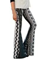 Elevin(TM) Womens Ankle Length Printed Stretch Flare Bell-bottoms Pants Trousers