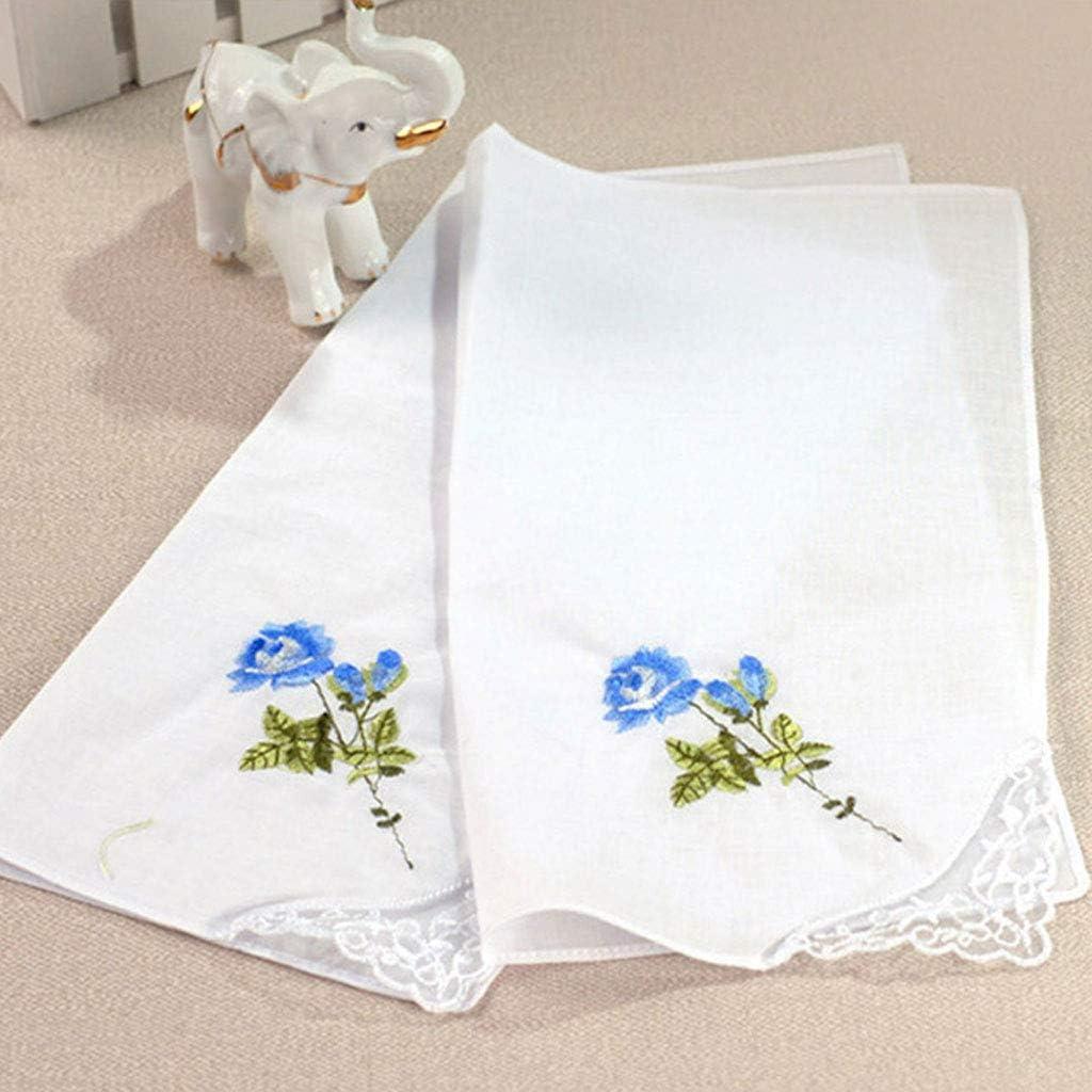 Sichuan 3Pcs//Set 29x29cm Women Square Handkerchief Floral Embroidered Candy Color Pocket Hanky Lace Patchwork Cotton Baby Bibs Portable Towel