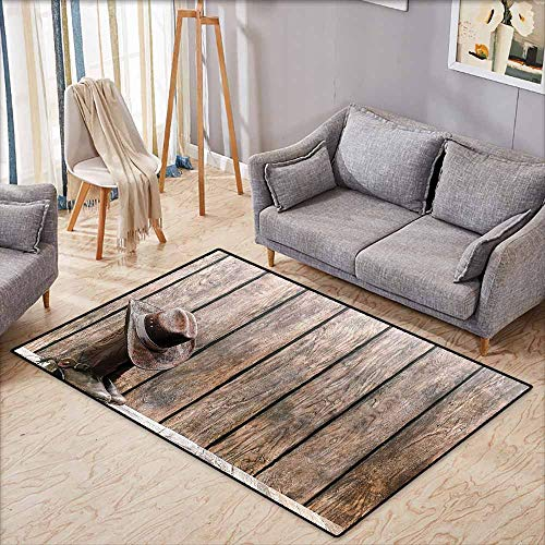 Indoor/Outdoor Rug,Western Decor,Wild West Boots in Wooden Room Folkloric Old Fashioned Wild Sports Theme Image,Anti-Static, Water-Repellent Rugs,4'7