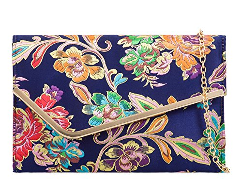 Embroidered Asymmetric Clutch Women's Metal Satin Flap Navy Trim Bag wvPf6pq