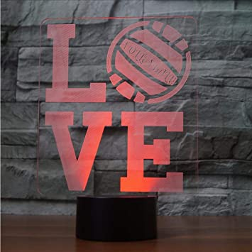 Night Lights 3d I Love Volleyball Shape Led Night Light Usb Bedroom Table Lamp 7 Colors Changing Light Fixture Party Kids Gifts Bedside Decor