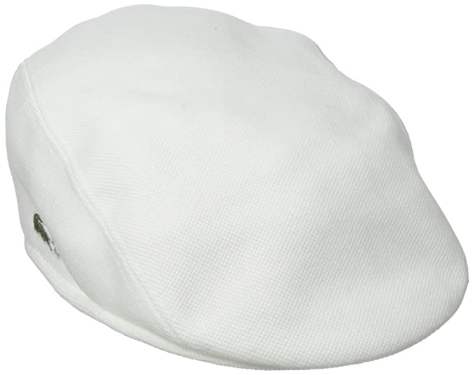 145286cd6199 Image Unavailable. Image not available for. Colour  Lacoste Pique Cotton  Flat Cap - White - Mens ...