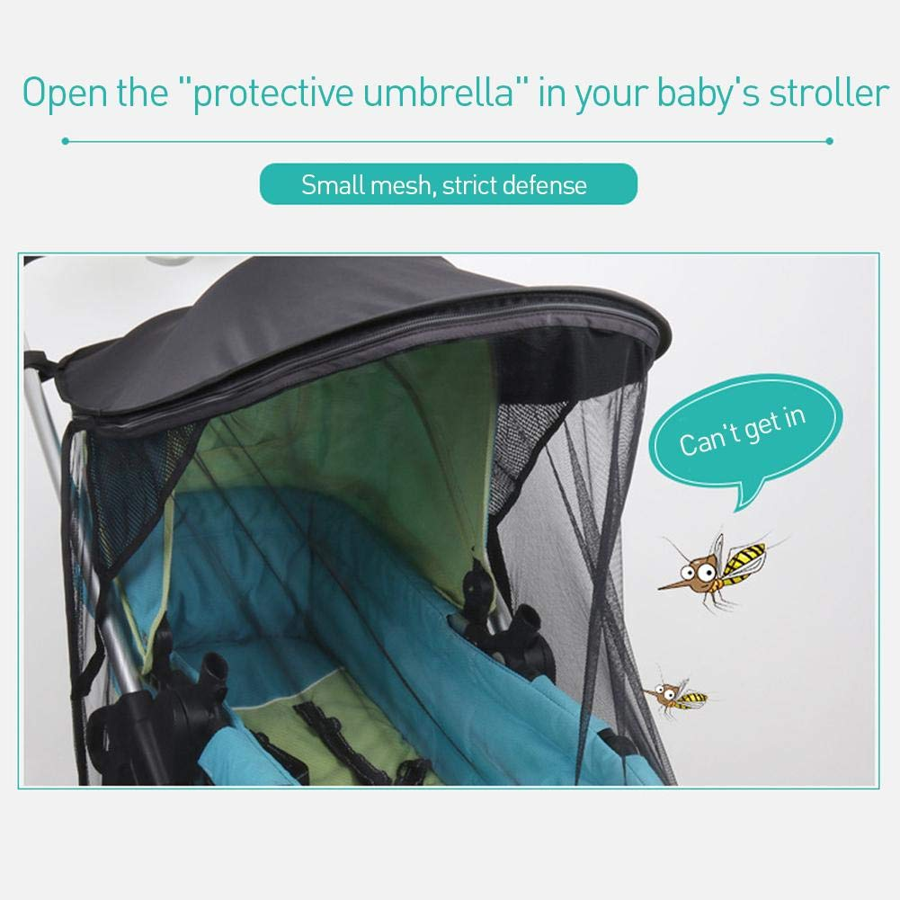 Ladeyi Baby Stroller Sunshade for Baby Buggy Uv Protection Universal Baby Mosquito Net Umbrella Cart Sunshade Cloth Mosquito Net Umbrella Stroller Sunshade Cover(cart is Not Included) by Ladeyi (Image #6)