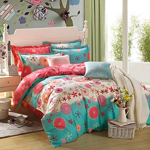TOP SHOP Home FTSUCQ Blue Memories Linen Bed Sheets Quilt Covers Bed Mattress Bedding Four-PCS Sets,size-3 (Sheet Kidsline Top)