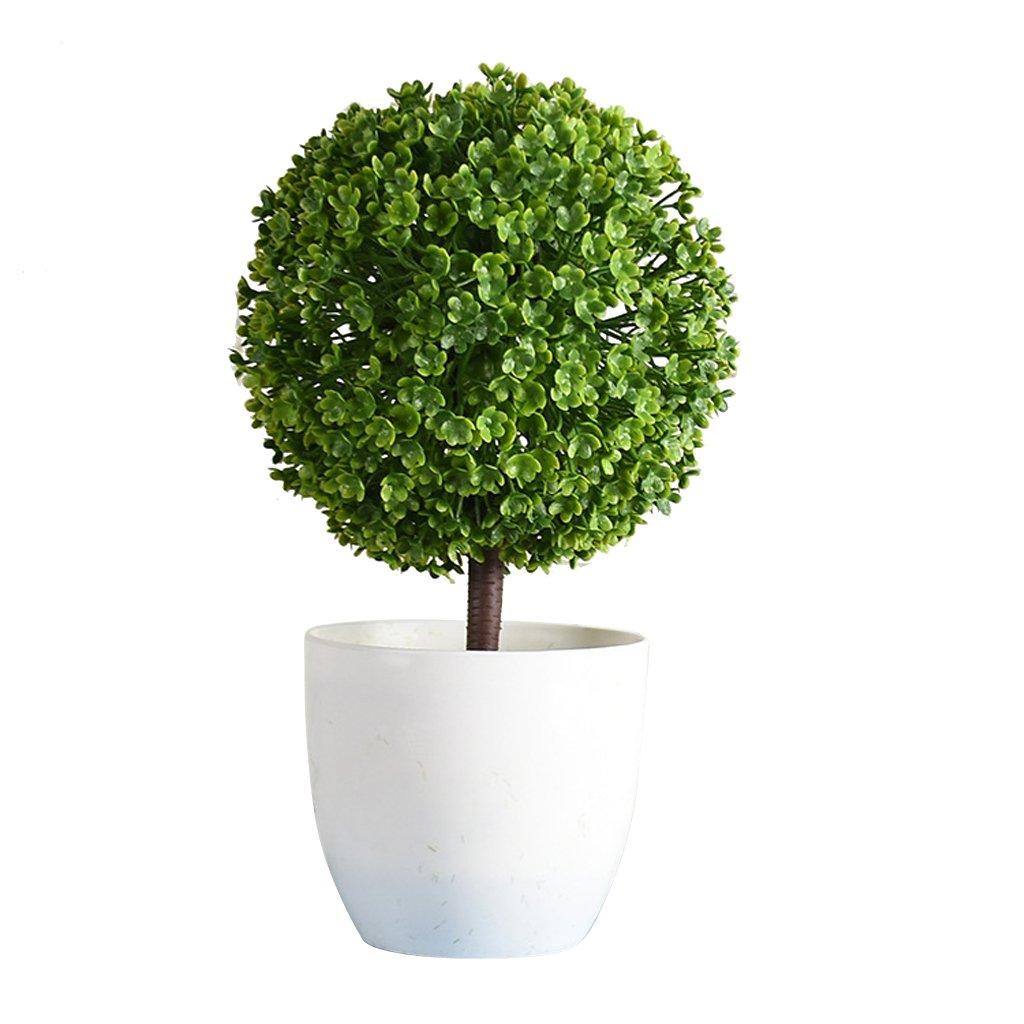 Homyl Artificial Silk Plastic Flowers Plant Simulation Milan Ball Topiary Grass Bonsai DIY Micro Landscape Floral Decor Ornament - Green, as described