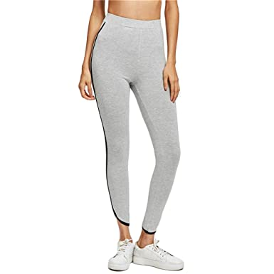 77617e2215d7b Chic-Dona Curved Hem Knit Leggings Women Striped Casual Bottoms Grey  Fitness Leggings Gray XS