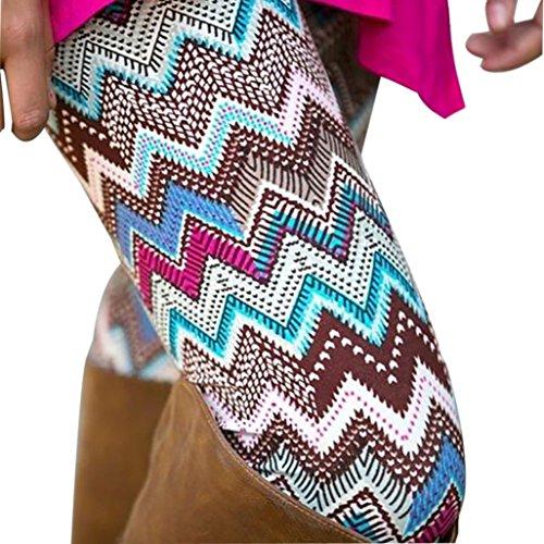 Fheaven Casual Women Lady Skinny Geometric Print Stretchy Jegging Pants Slim Leggings (L, Coffee4)