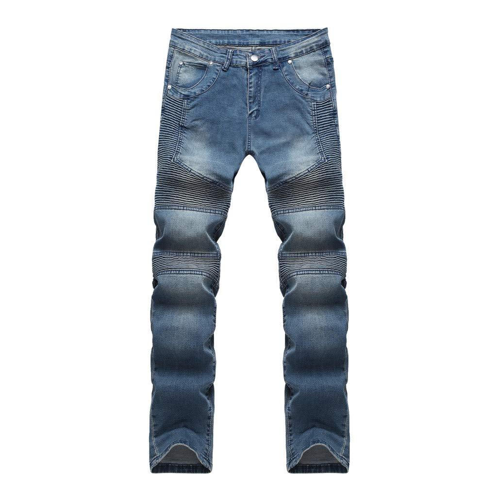 LOVOZO Men's Casual Pants Ripped Slim Straight Fit Moto Biker Jeans with Zipper Deco Blue by LOVOZO