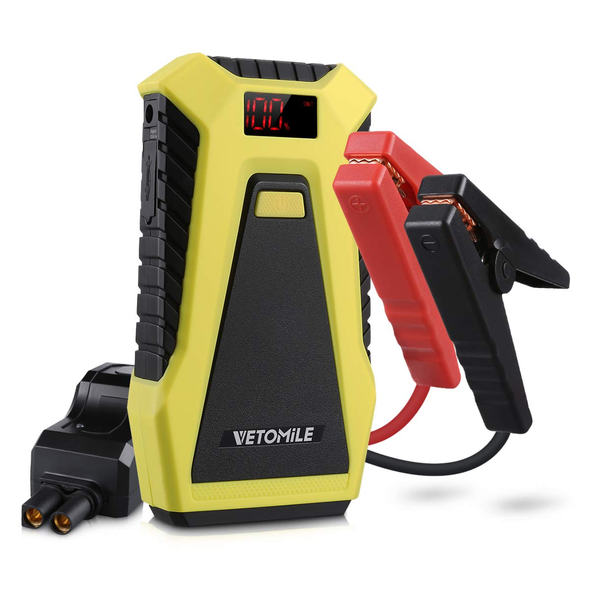 VETOMILE Ultra-Safe Jump Starter 500A 12000mAh Portable Auto Battery Booster Dual 5V USB Power Bank With Car Charger and AC Adapter for 3.0L Gas Or 2.0L Diesel Engine