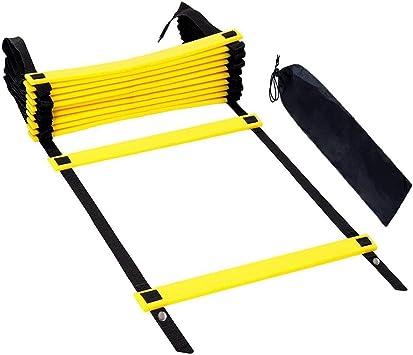 VOYAGO - Escalera de coordinación para Entrenamiento de fútbol (6 m, Incluye 12 peldaños, con Funda), Negro: Amazon.es: Deportes y aire libre