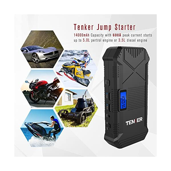 TENKER 600A Peak 14000mAh Portable Car Jump Starter For 50L Gas 35L Diesel Engine Emergency Battery Booster Pack Power Bank Portable Charger With 2 Smart USB Ports LCD Screen LED Flashlight
