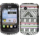 lg 305c phone case - Charcoal Gray Smoke Aztec Pattern Design Shield Snap-On Cover Case + Atom LED for LG 306G / 305C / Aspire