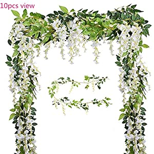 U-yaya Artificial Flowers 2Pcs Silk Wisteria Ivy Vine 6.6ft/pc Green Leaf Hanging Vine Garland for Wedding Party Home Garden Wall Decoration, White 87