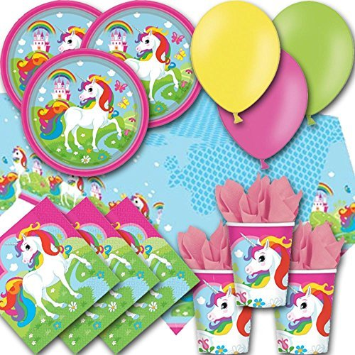 (Signature Balloons Rainbow Unicorn Party Pack For 8 - Plates, Cups, Napkins, Balloons And Tablecover )