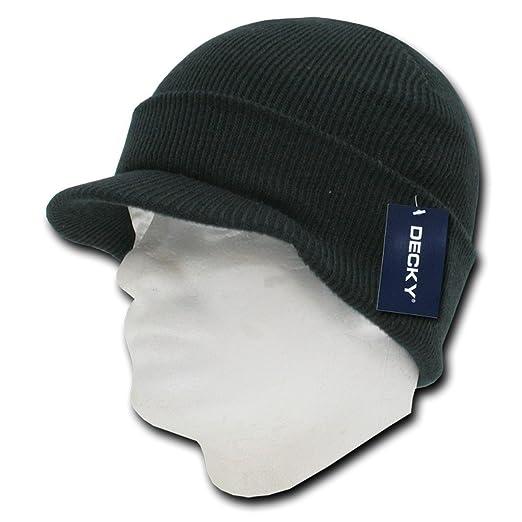 e0974368406 Decky Inc Acrylic Cuffed Visor Jeep Cap Winter Beanie Skull Hat 8009 Black