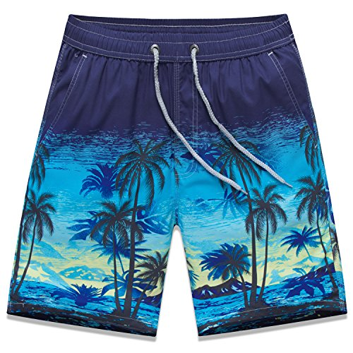 Sunshine Code Men's Quick Dry Boardshorts Bathing Suits Swimming Trunks Swim Water Floras Shorts, XL(30-31), Coco Island (Xl Coco Liner)