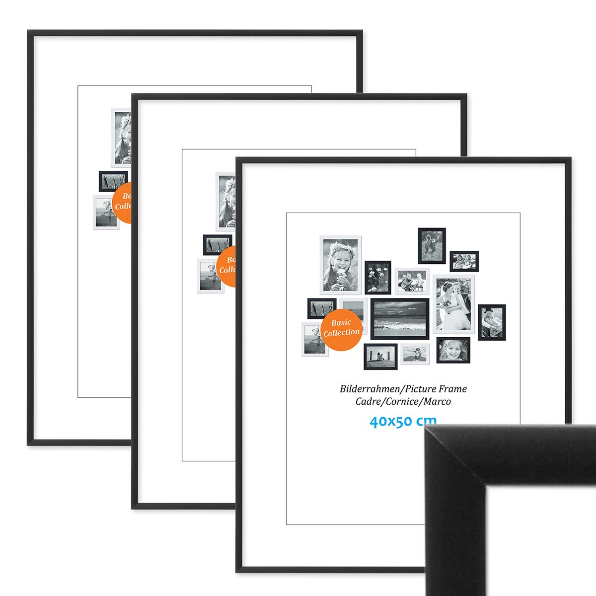 PHOTOLINI 7er Set Alu-Bilderrahmen 10x15 bis 21x30 cm Modern Gold Aluminium-Rahmen mit Acrylglas//Bildergalerie//Foto-Collage