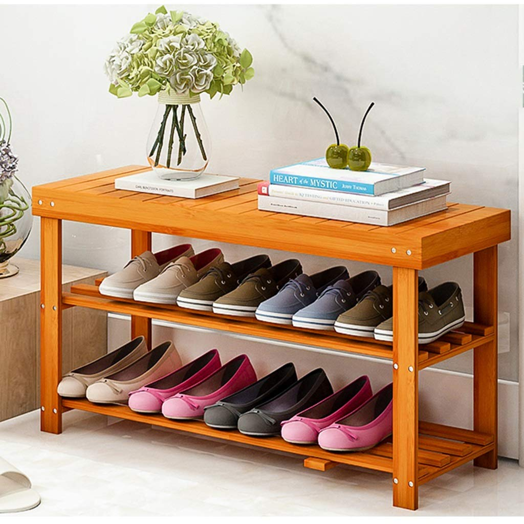 80cm Bamboo shoes Racks 2-Tier Shelf, Modern Simplicity shoes Bench Seat Storage Organiser Bamboo Frame Storage for Entryway, Bathroom, Kitchen, Living Room (Size   80cm)