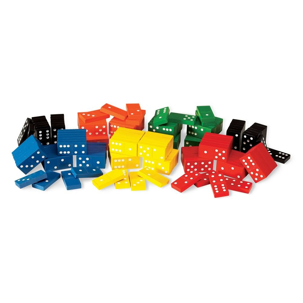 hand2mind Wood, Assorted Colors, Dominoes Double-Six Classroom Kit (6 Sets of 28) by hand2mind