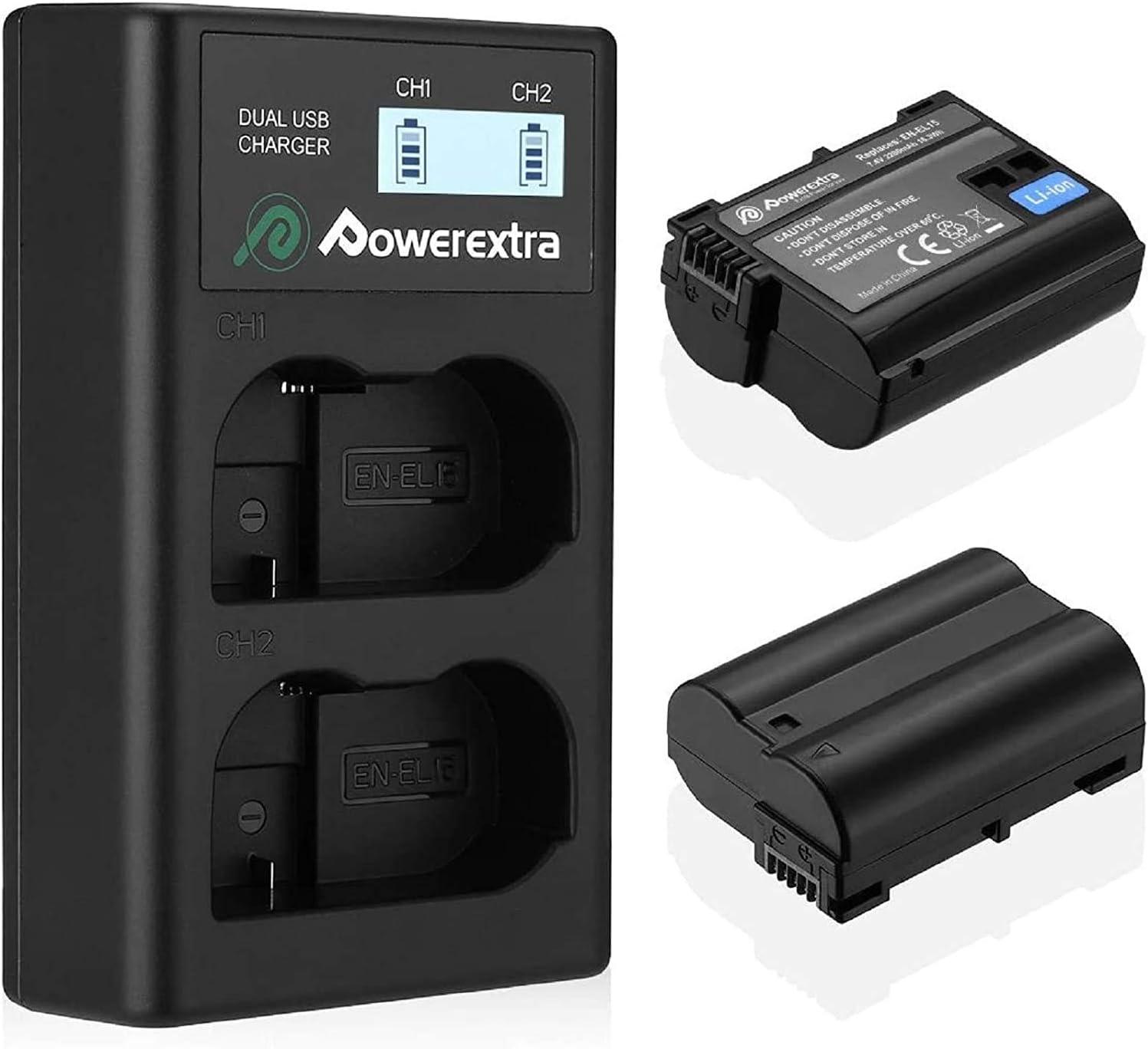 Powerextra Batería de Repuesto Nikon EN-EL15 de Repuesto y Cargador Pantalla LCD para Nikon MH-25 MH-25a y Nikon D7100 D750 D7000 D7200 D810 D610 D800 D850 D600 D500 D800E D810A 1v1 Cámaras
