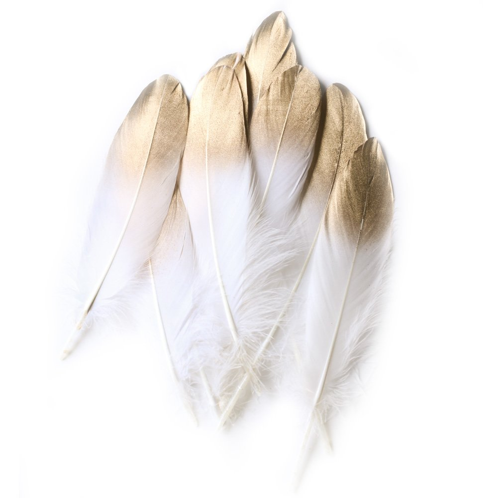 White craft feathers bulk - Ling S Moment 12 Pcs Summer Sparkle Natural Pure White Gold Dipped Feathers In Bulk For Craft