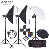 Andoer MD-300900W Kit con 3 flash estroboscópico para estudio de 300 W + 3 soportes para luces + 2 Softbox + 2 Paraguas para fotografía de estudio o strobist + Barndoor + Disparador de flash + Bolsa de trasporte para vídeo y fotografía