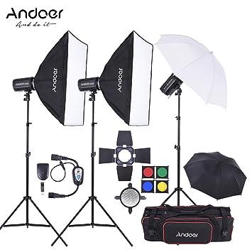 Softbox Focos Fotografía Andoer MD-300 900W (300W x 3) Profesional Fotografia Estudio