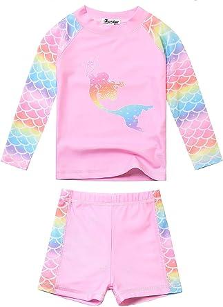 Simple Joys by Carters Girls Toddler 2-Piece Rashguard Set 5T Pink Mermaid