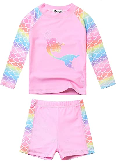 Jojoaby Little Girls Summer Colorful Rainbow 2 Piece Swimsuit Swimwear Bathing Suit