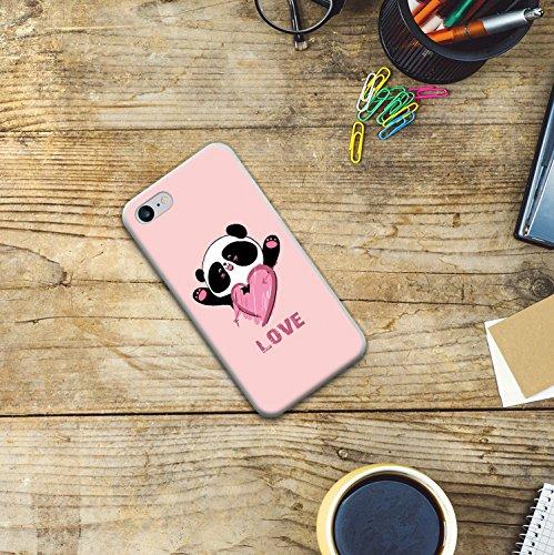 iPhone 8 Hülle, WoowCase Handyhülle Silikon für [ iPhone 8 ] Pandabär und Liebesherz Handytasche Handy Cover Case Schutzhülle Flexible TPU - Transparent