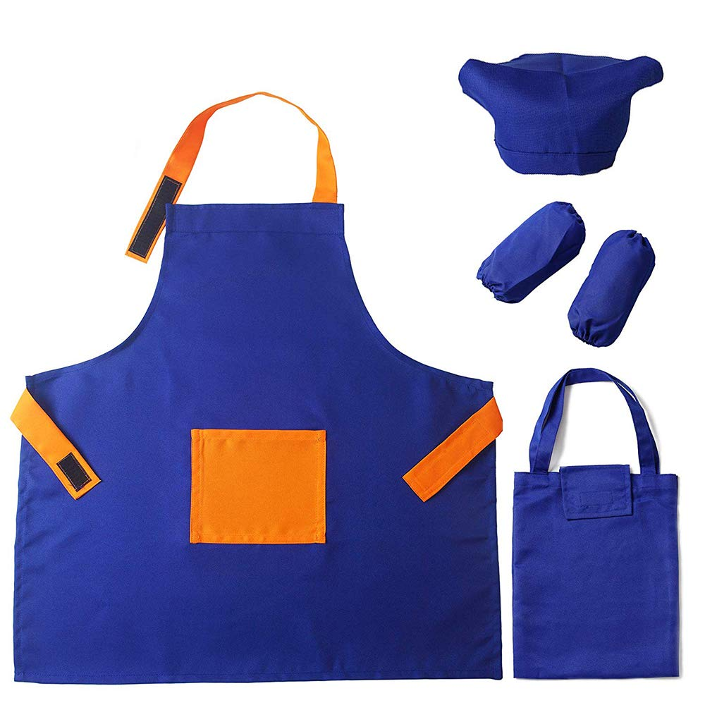 Children Aprons Adjustable W//Pocket Arm Sleeves Storage Bag for Cooking Painting Baking Cleaning Art DIY Washable ARRIS Kids Apron Set with Chef Hat for Boys Girls