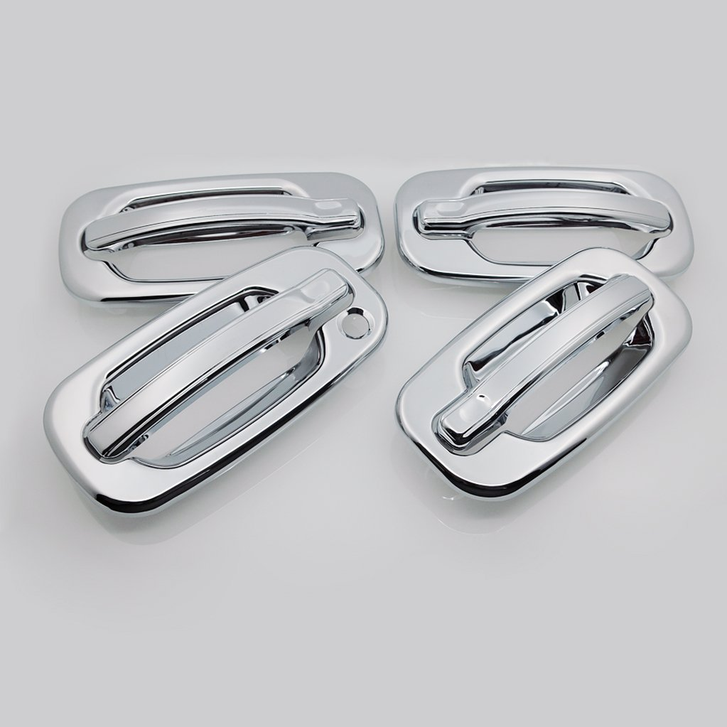 EAG 99-06 Chevy Silverado/GMC Sierra 1500/01-06 Silverado/Sierra 2500/3500/00-06 Surburban/Tahoe/Yukon Chrome Plated ABS 4 Door Handle Cover E-Autogrilles