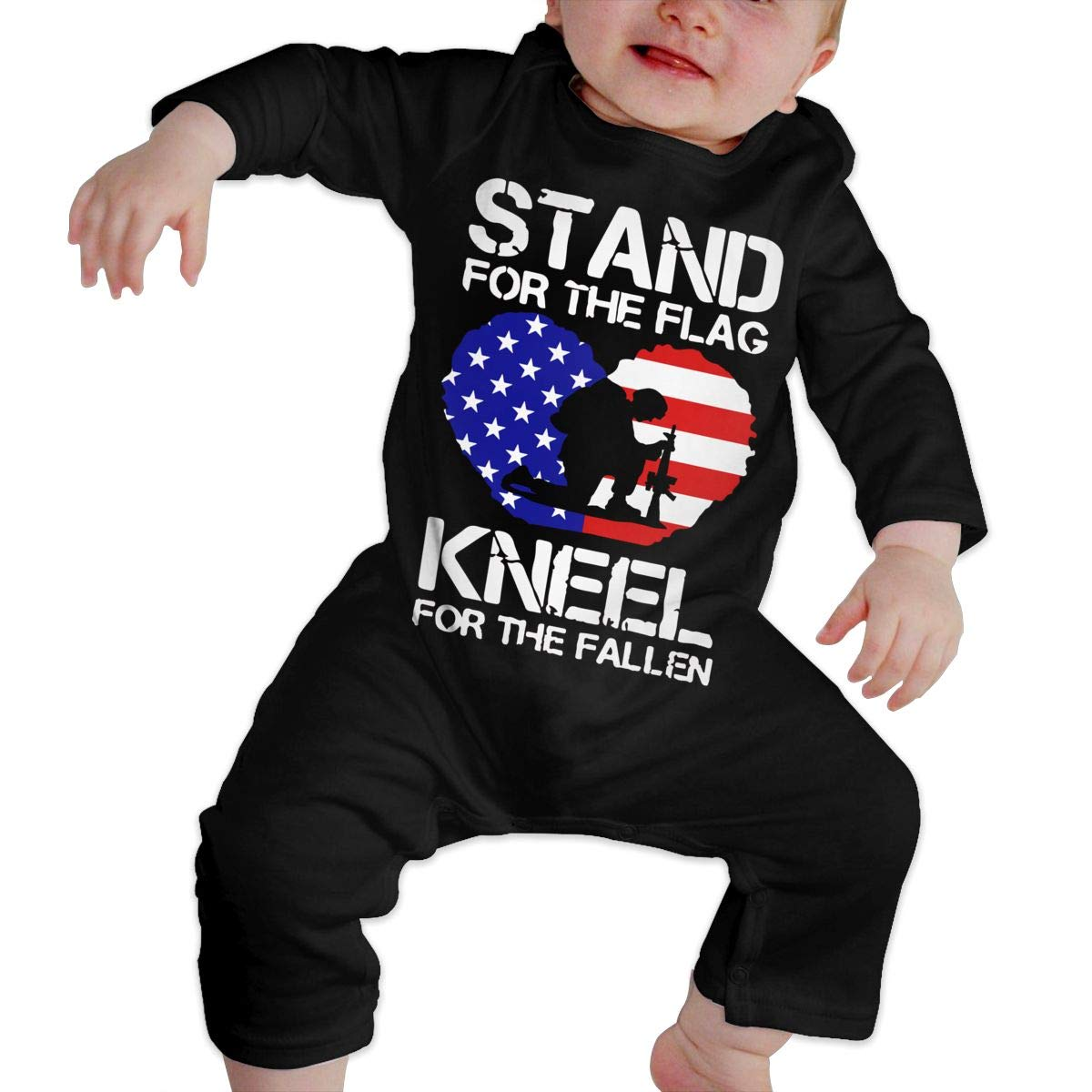 Kneel for The Fallen-1 Climb Jumpsuit Funny Printed Romper Clothes Infant Baby Girls Cotton Long Sleeve Stand for The Flag