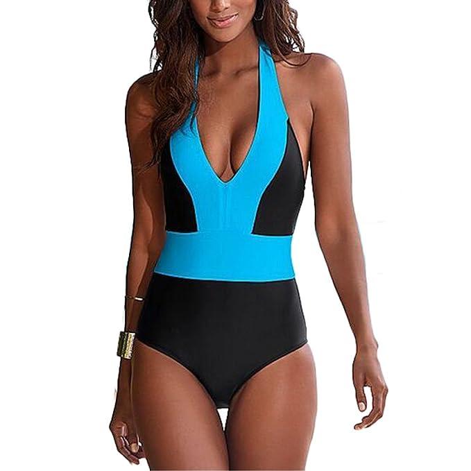 be5f14fbfae Lukitty Women's One Piece Push Up Halter Bikini Monokini Bathing Suit  Swimsuit: Amazon.ca: Clothing & Accessories