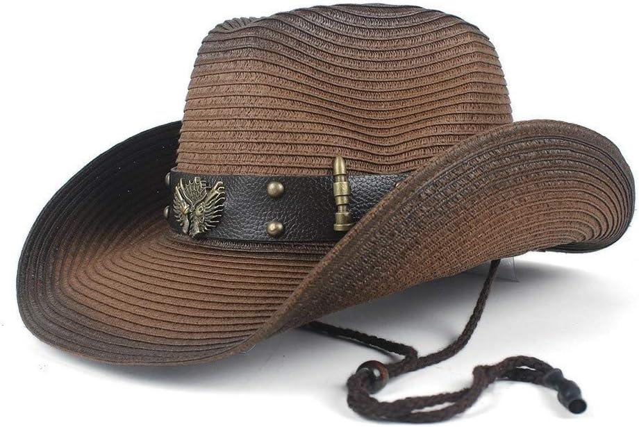 Westernhut Xiequn Sommerhut Cowboyhut Herren Cowboyhut aus Leder Strohhut f/ür Damen