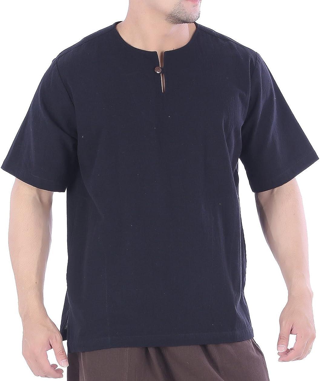 YUSKY Mens Cotton Linen Classic Pocket Summer Relaxed-Fit Shirt Top