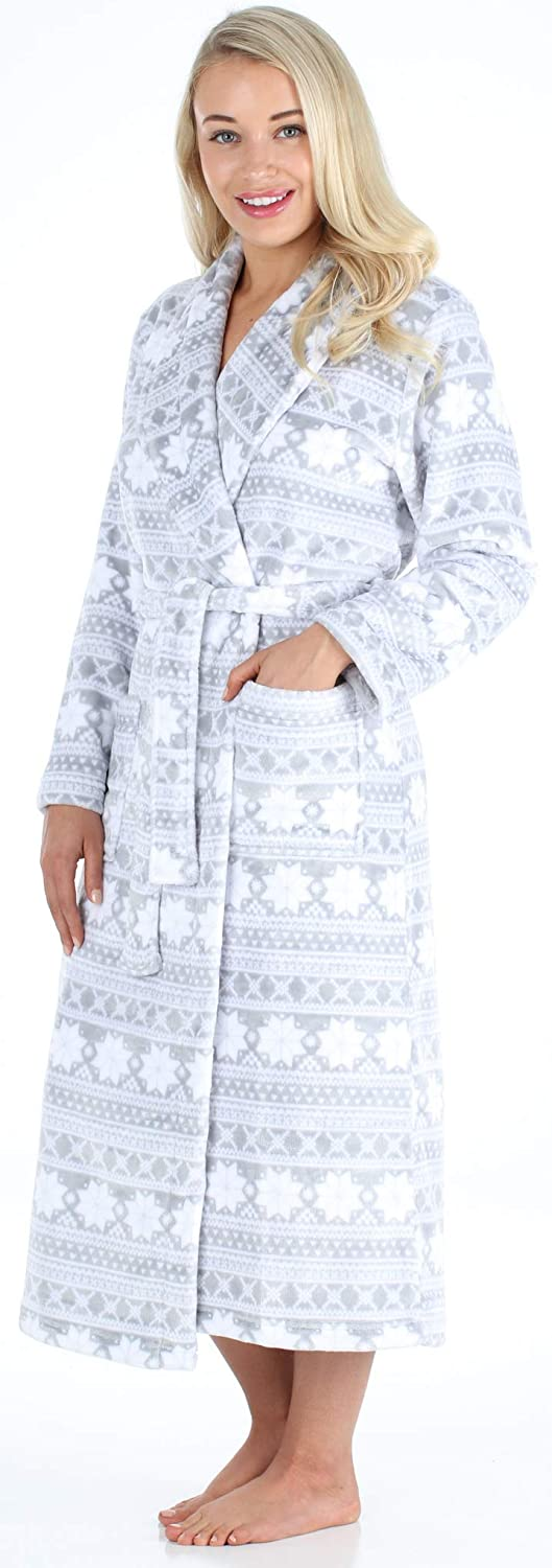 Details about  /PajamaMania Women/'s Plush Fleece Long Bathrobes Hooded Sherpa-Lined Robes