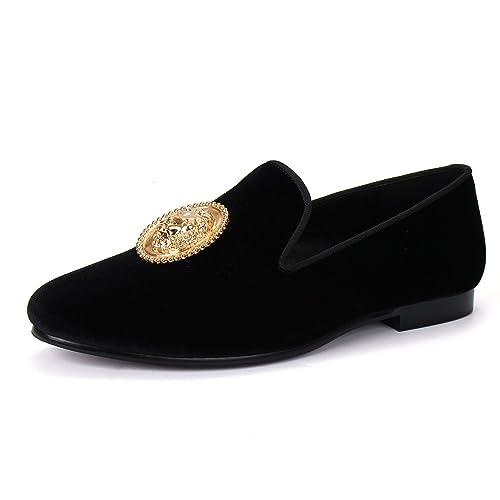 Amazon.com | Animal Buckle Men Dress Shoes Handmade Velvet Loafer Slippers | Loafers & Slip-Ons