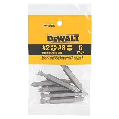 DEWALT DW2024B6 No. 2 Phillips/No. 8 Slotted Double Ended Bit, 6-Pack