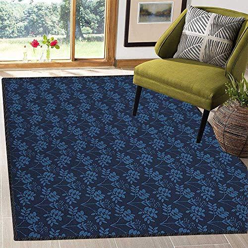 - Indigo Colorful Area Rug,Ocean Inspired Garden Botanic Floral Details Leaves Buds Image Print Waterproof and Easy Clean Dark Blue Violet Blue 59