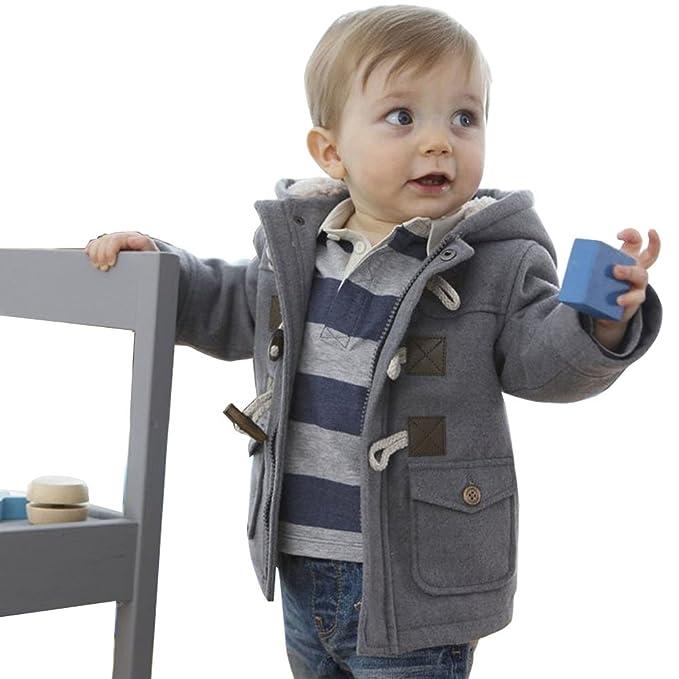 ARAUS Niños Abrigos con Capucha Invierno Duffle Calentito Chaquetas con Capucha Horn Botón Abrigo Ropa para Bebés: Amazon.es: Ropa y accesorios