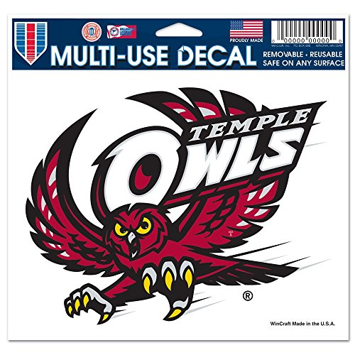 NCAA Temple Owls Official 4 inch x 6 inch Car Window Cling Decal by Wincraft 661739 by NCAA