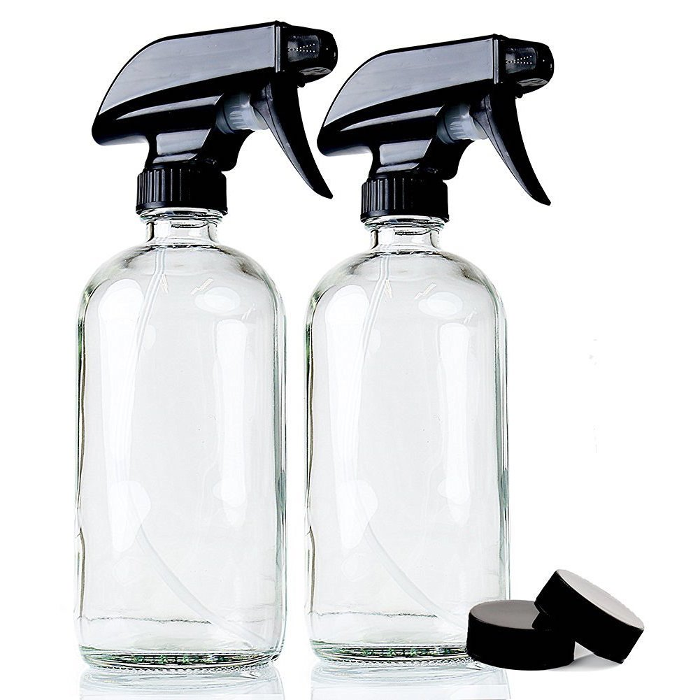 Empty Refillable 16 oz Glass Container for Homemade Cleaners, Misting Plants, etc - Strong Reliable Trigger Sprayer with Mist and Stream Settings includes Phenolic Cap and 3''x3'' Bottle Labels ~2 Pack