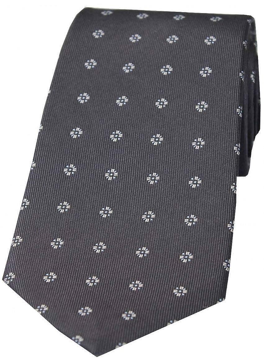 David Van Hagen Mens Small Floral Silk Tie Grey