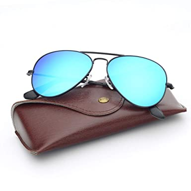 7234de5b9a17 Amazon.com  Bnus corning natural glass lenses metal frame aviator sunglasses  for men women italy made (Black Blue Flash Polarized