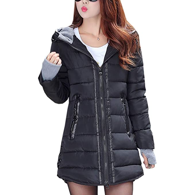 9e342f9a4a80 uirend Abbigliamento Donna e Cappotti Giacche - Piumini Cappuccio  Ultralight Packable Lungo Zip Caldi Guanti Parka Cotone Inverno Cappotto   Amazon.it  ...