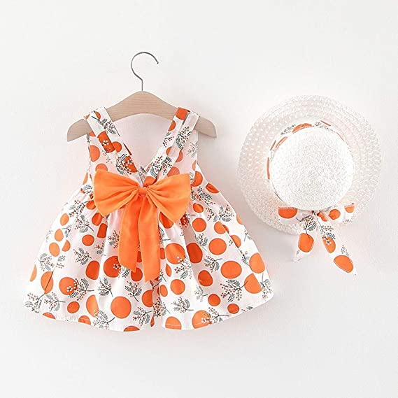 Girl Sleeveless Strap Dot Print Bow Princess Dresses Hat Clothes Outfits 6 Months 3 Years wuayi  Baby Girl Dress