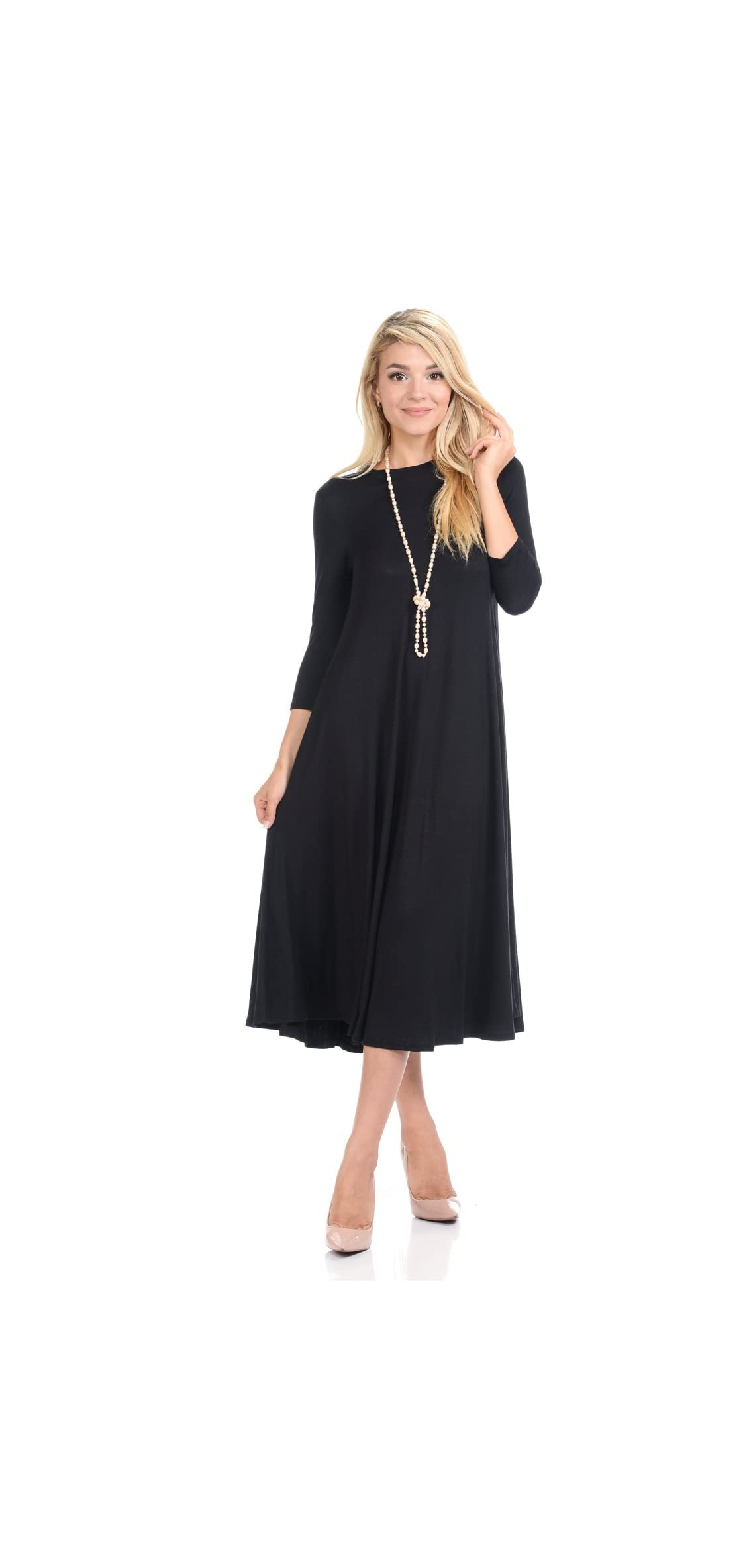 Women's A-line Swing Trapeze Midi Dress